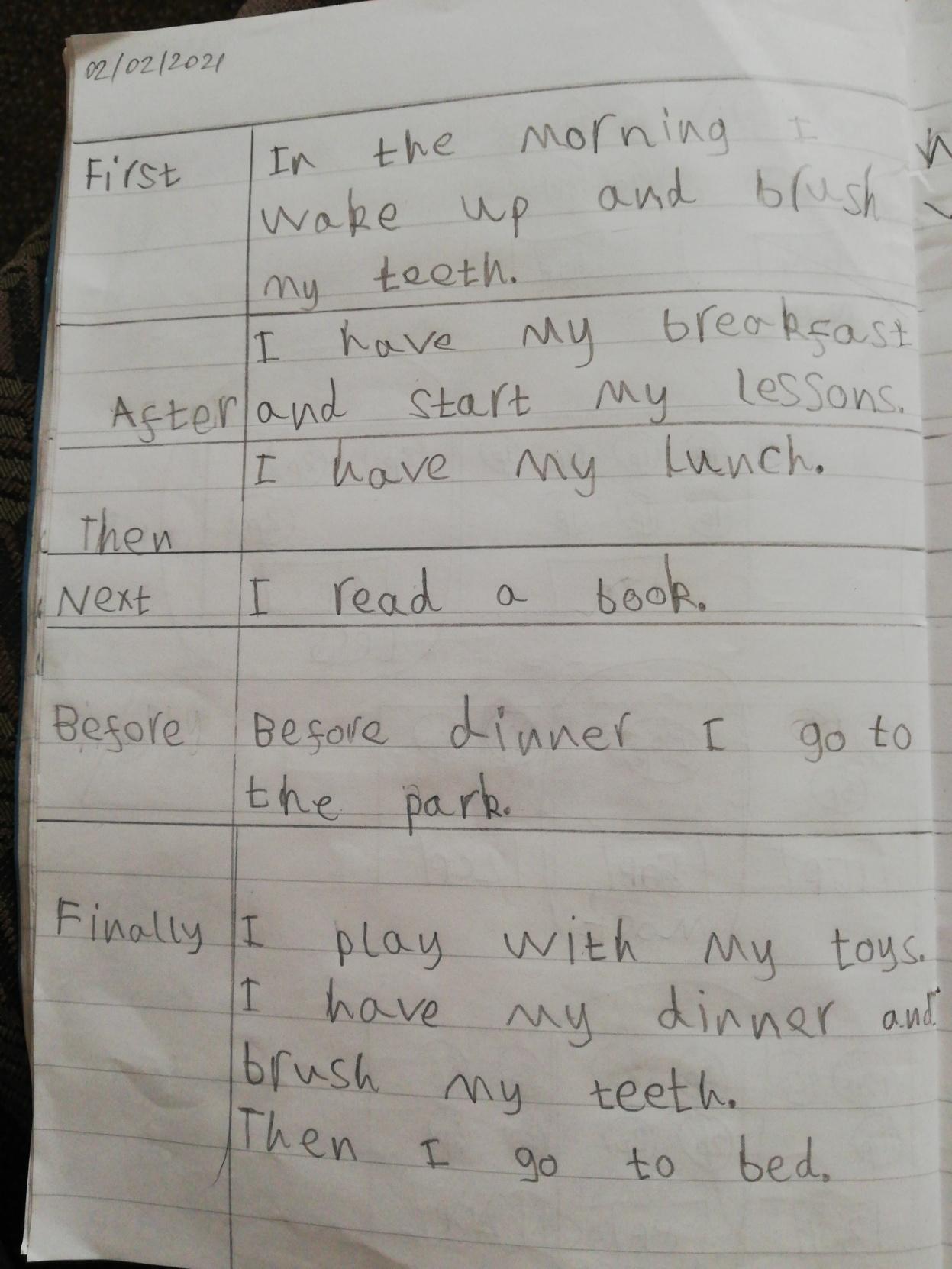 Victoria's beautiful handwriting!