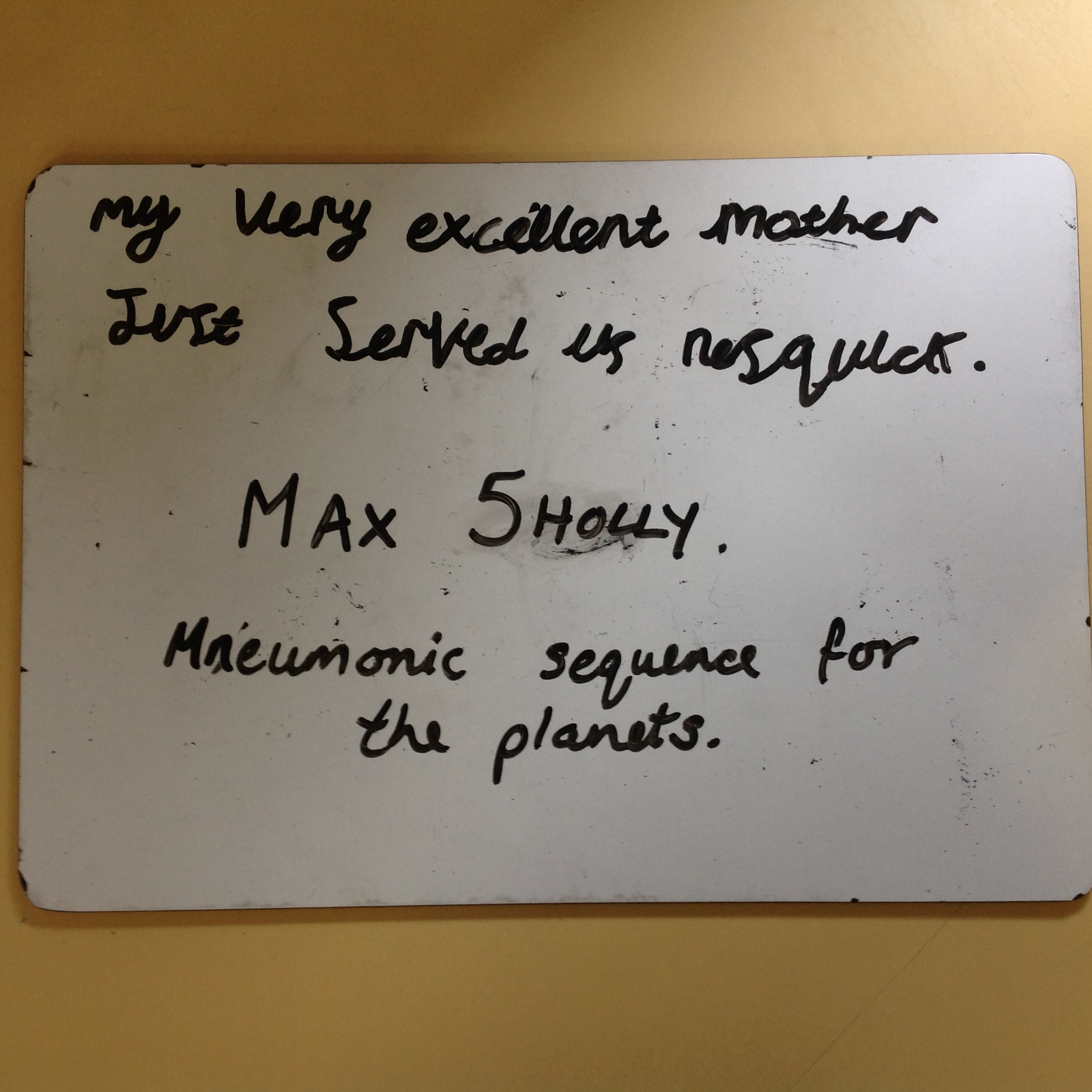 Max's brilliant mnemonic!