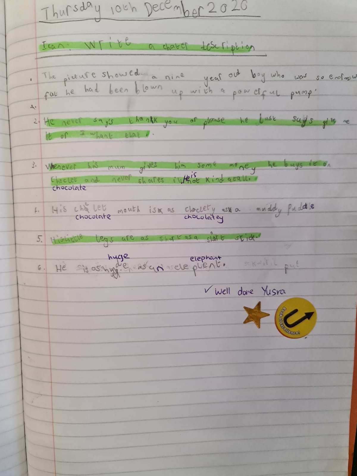 Yusra's wonderful writing!