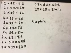 Sophia's brilliant times tables practice