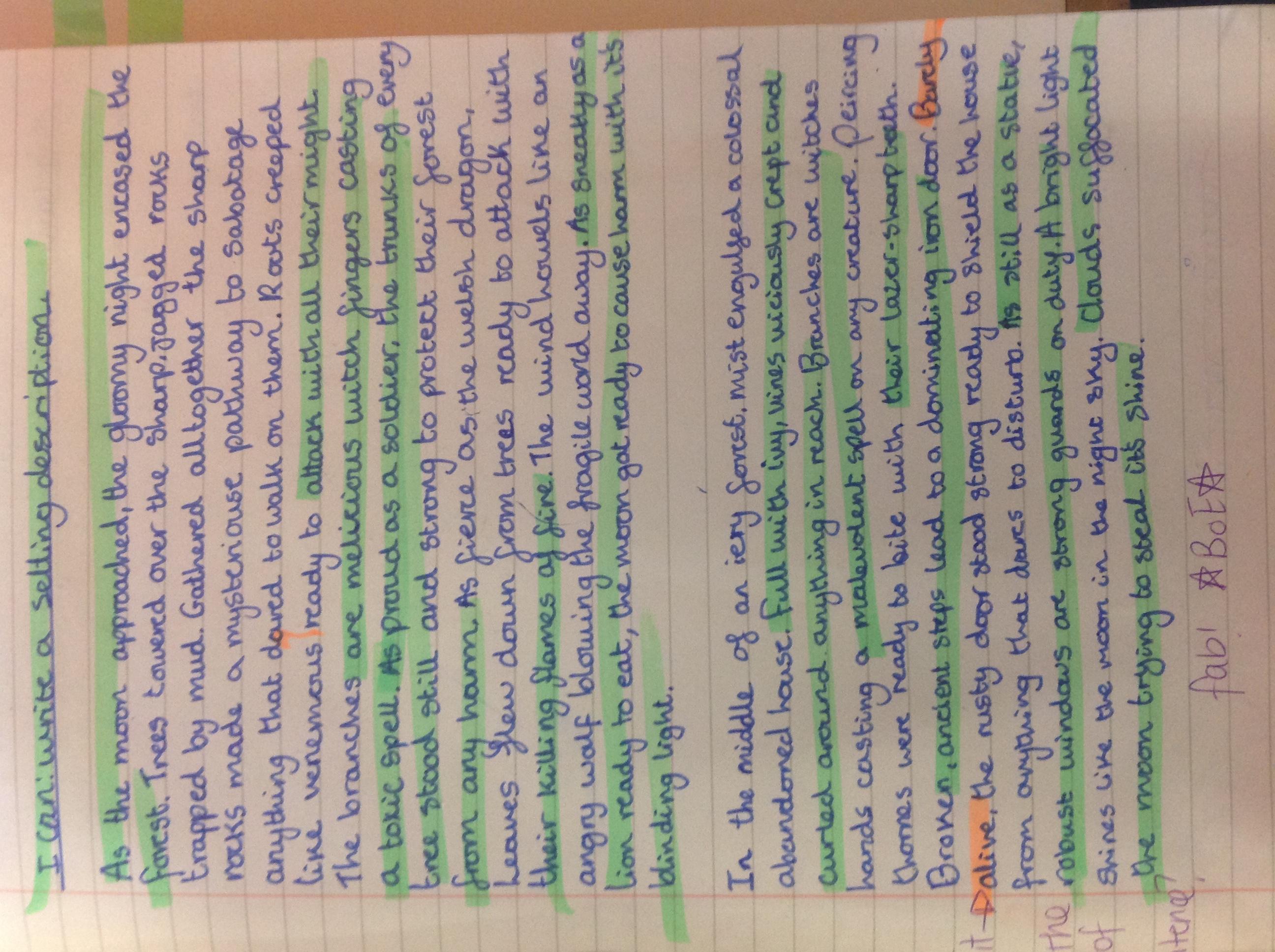 Norhane's brilliant setting description!