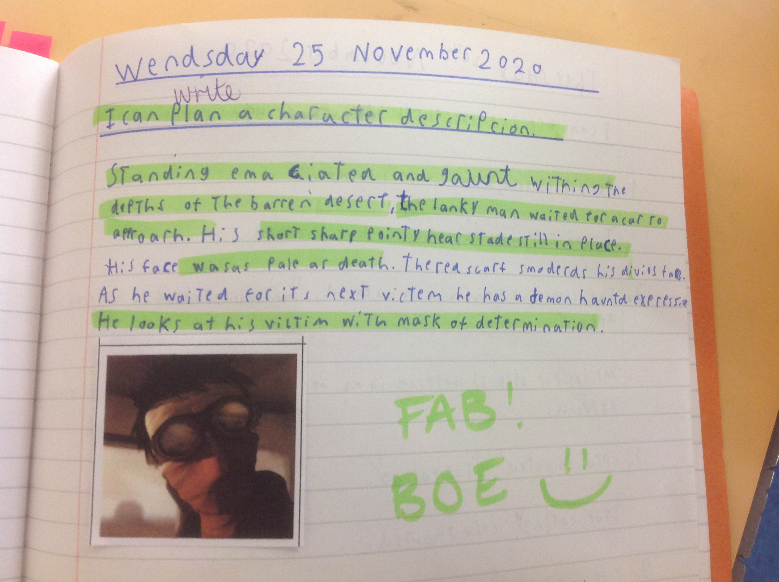 Lucas's wonderful writing!