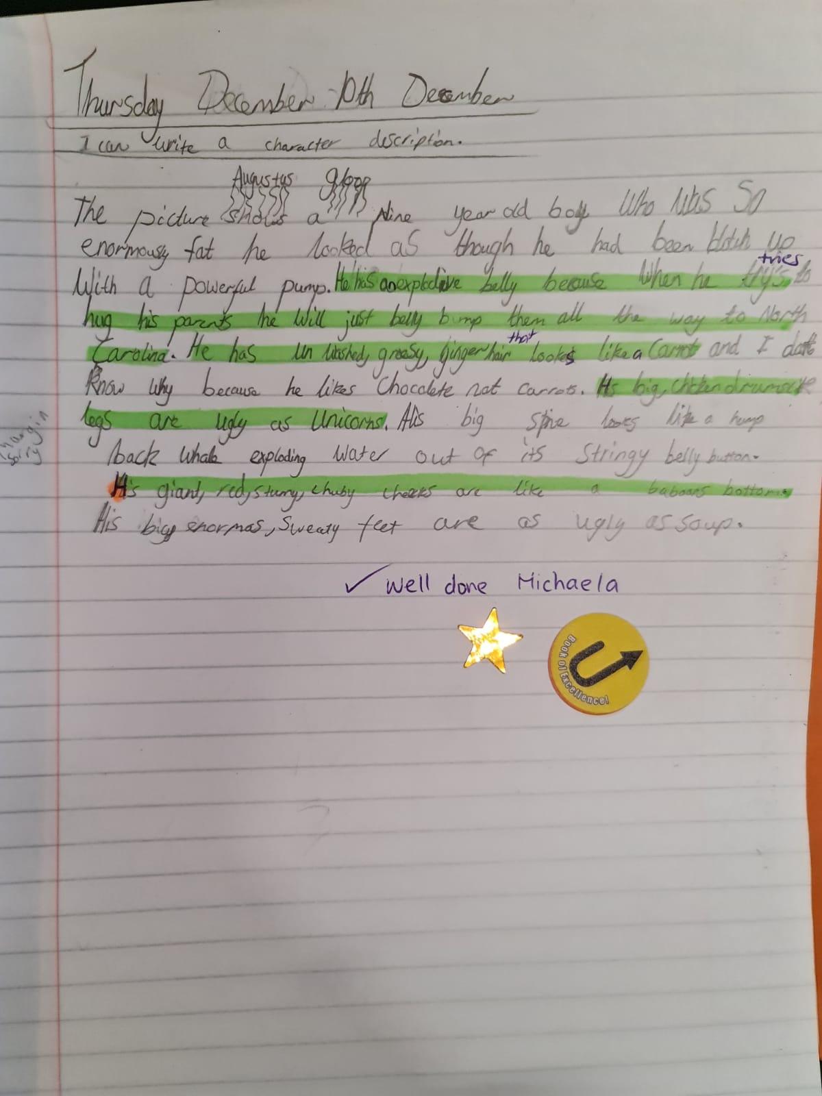 Michaela's fabulous writing!