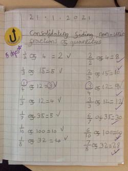 Emeli's fantastic fractions work!