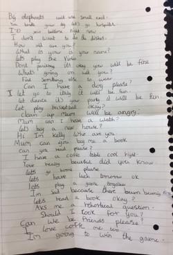 Kelly's incredible handwriting!