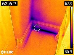 Infrared water wall next to door