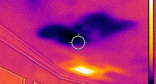 3 infrared water ceiling next to ac vent