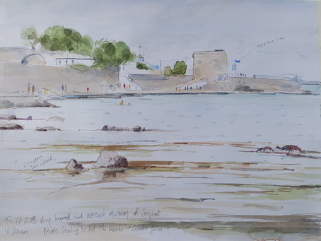 Watercolour Sketch: Seapoint Summers sun.
