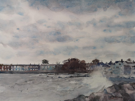 'Rough Sea at Sandycove' Co. Dublin.
