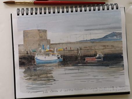 Watercolour Sketch: West pier Dun laoghaire Harbour.