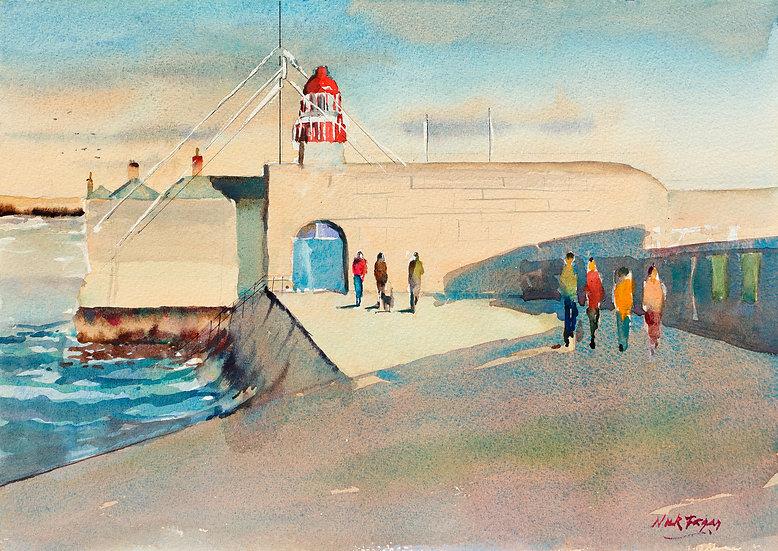 ''Autumn Sunlight on West Pier, Dun Laoghaire', Co Dublin