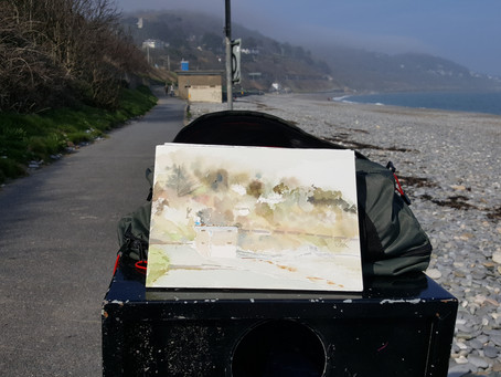 Killiney Beach watercolour sketch