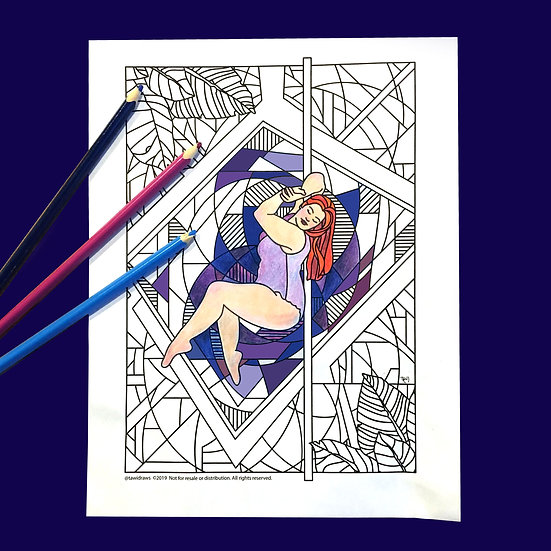 Geo Dancer Coloring Page w/consent for Studio Use