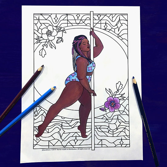 Attitude Dancer Coloring Page w/consent for Studio Use
