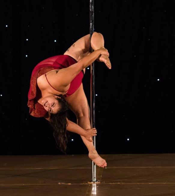 fat curvy plus size female woman pole dancer aerial trick vegas