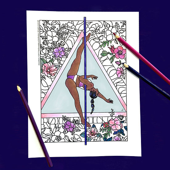 Floral Dancer Coloring Page w/consent for Studio Use