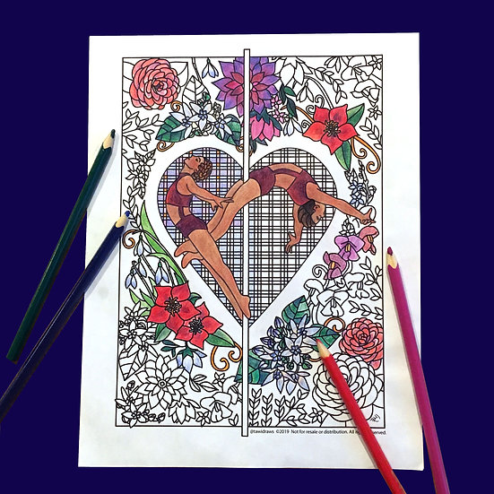 Heart Dancers Coloring Page w/consent for Studio Use