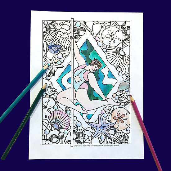 Shell Dancer Coloring Page w/consent for Studio Use