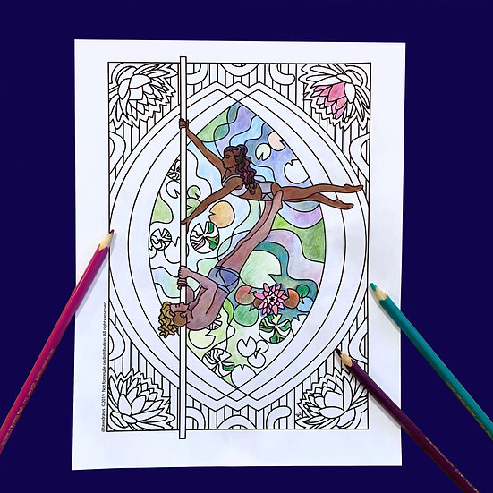 Lotus Dancers Coloring Page w/consent for Studio Use