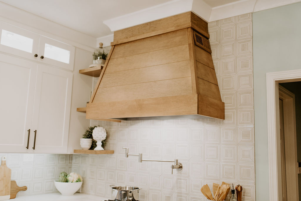 Wood Maple Hood and Floating Shelves