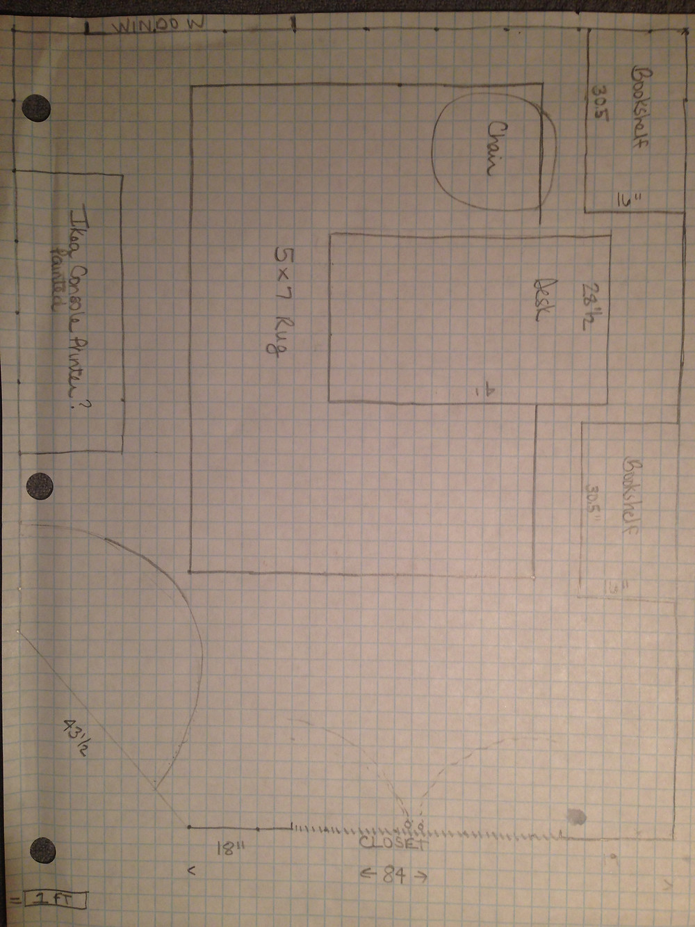 Furniture Layout on Grid Paper