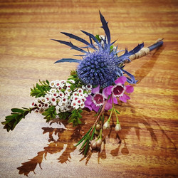 sea holly boutonniere