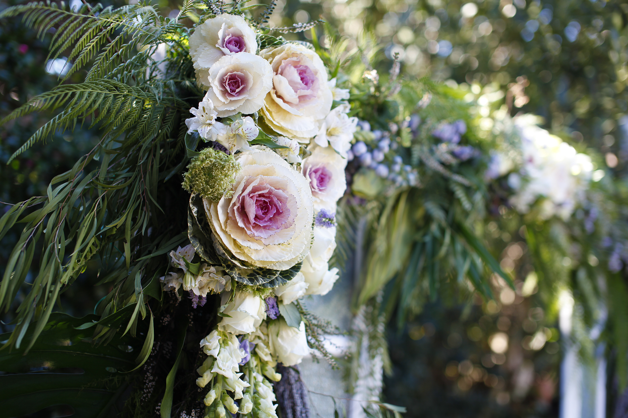 wedding arch florals close up