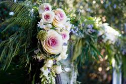 wedding arch florals close up