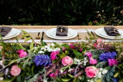 cascade floral runner bridal table