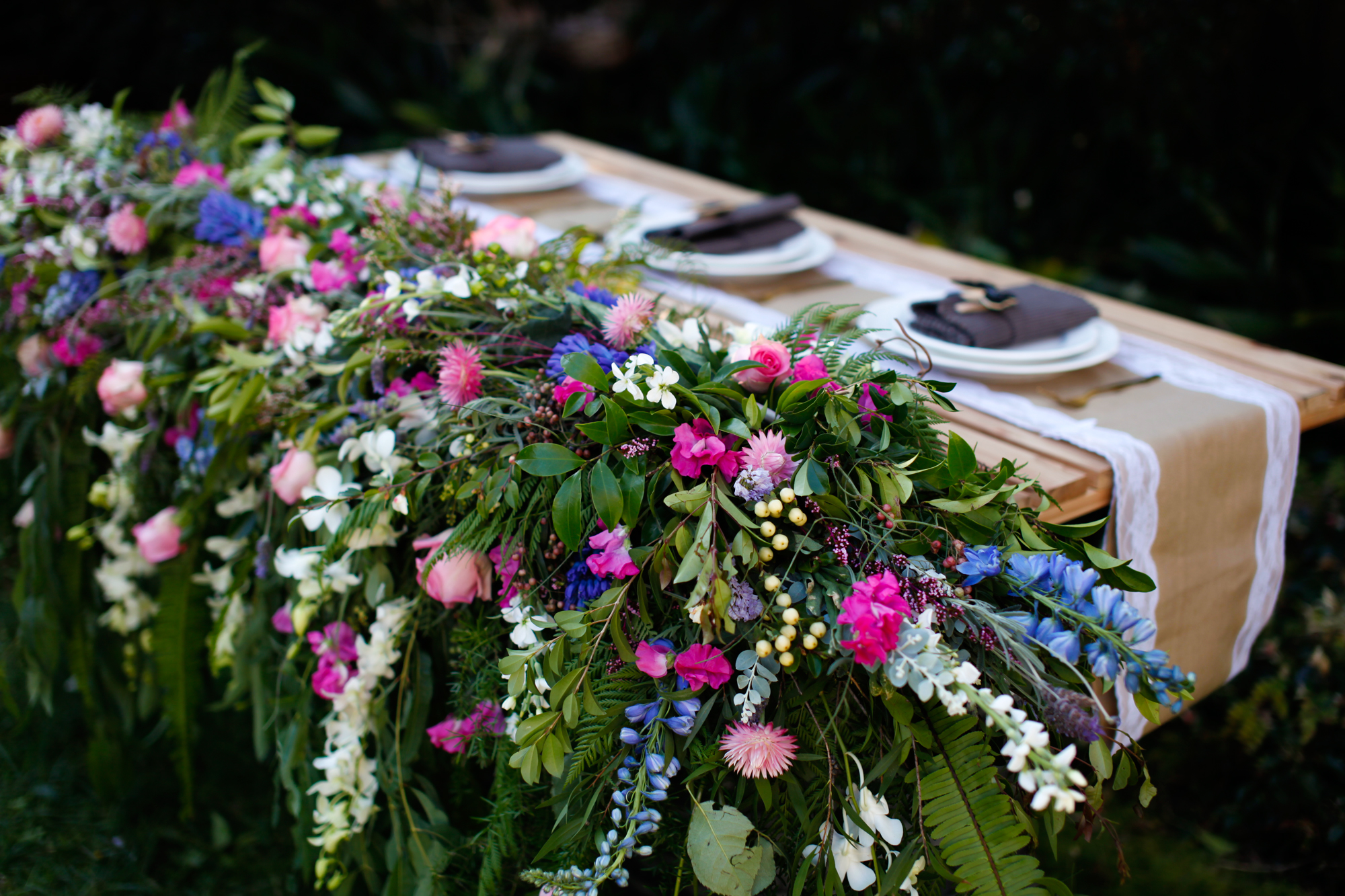 cascade floral runner bridal table