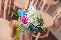 silk flower decorations close up