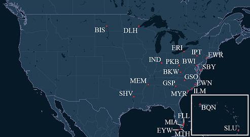 Mountain Air Cargo Pilot Bases Map