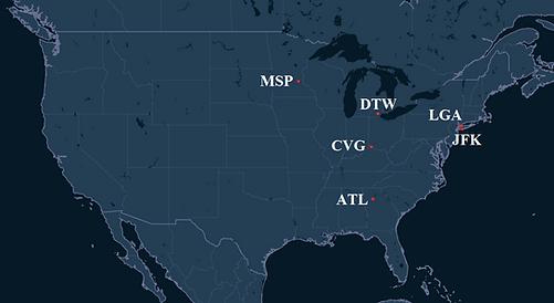 Endeavor Air Pilot Bases Map