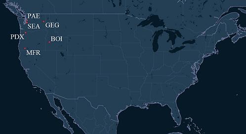 Horizon Air Pilot Bases Map