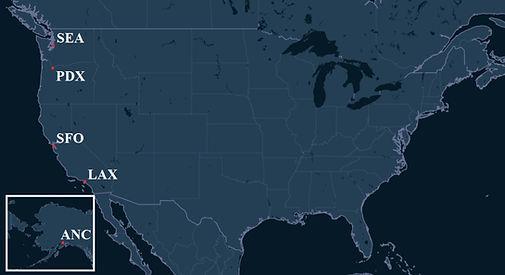 Alaska Airlines Pilot Bases Map