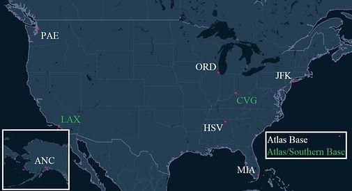 Atlas Air & Southern Air Pilot Bases Map