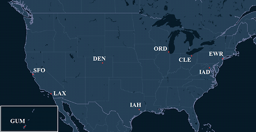 United Airlines Pilot Bases Map