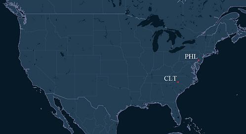 Piedmont Airlines Pilot Bases Map
