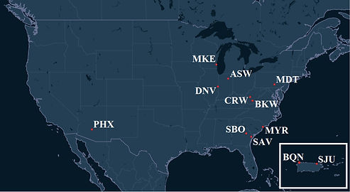 Air Cargo Carriers Pilot Bases Map