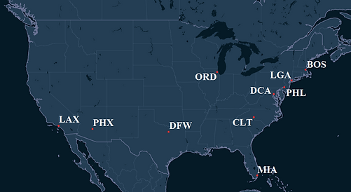 American Airlines Pilot Bases Map