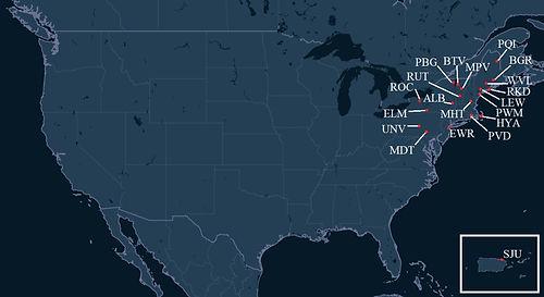 Wiggins Airways Pilot Bases Map