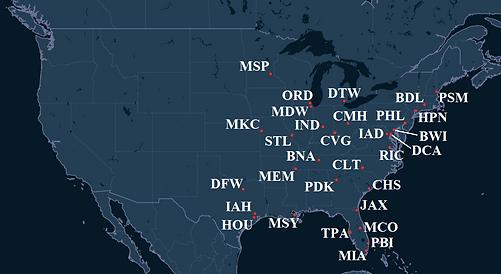 PlaneSense Pilot Bases Map
