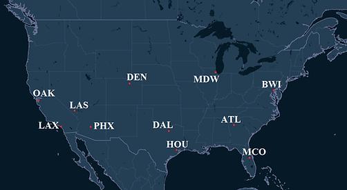 Southwest Airlines Pilot Bases Map