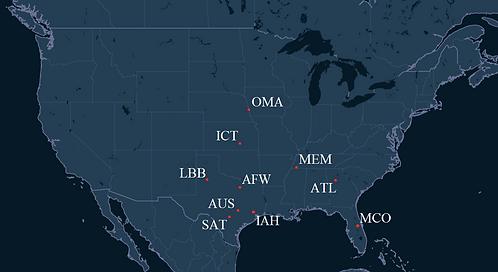 Baron Aviation Pilot Bases Map