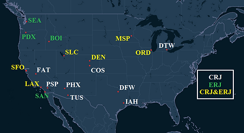 SkyWest Airlines Pilot Bases Map