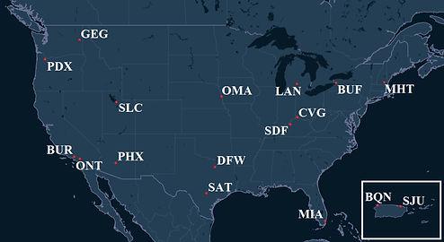 Ameriflight Pilot Bases Map
