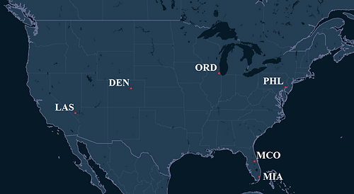 Frontier Airlines Pilot Bases Map