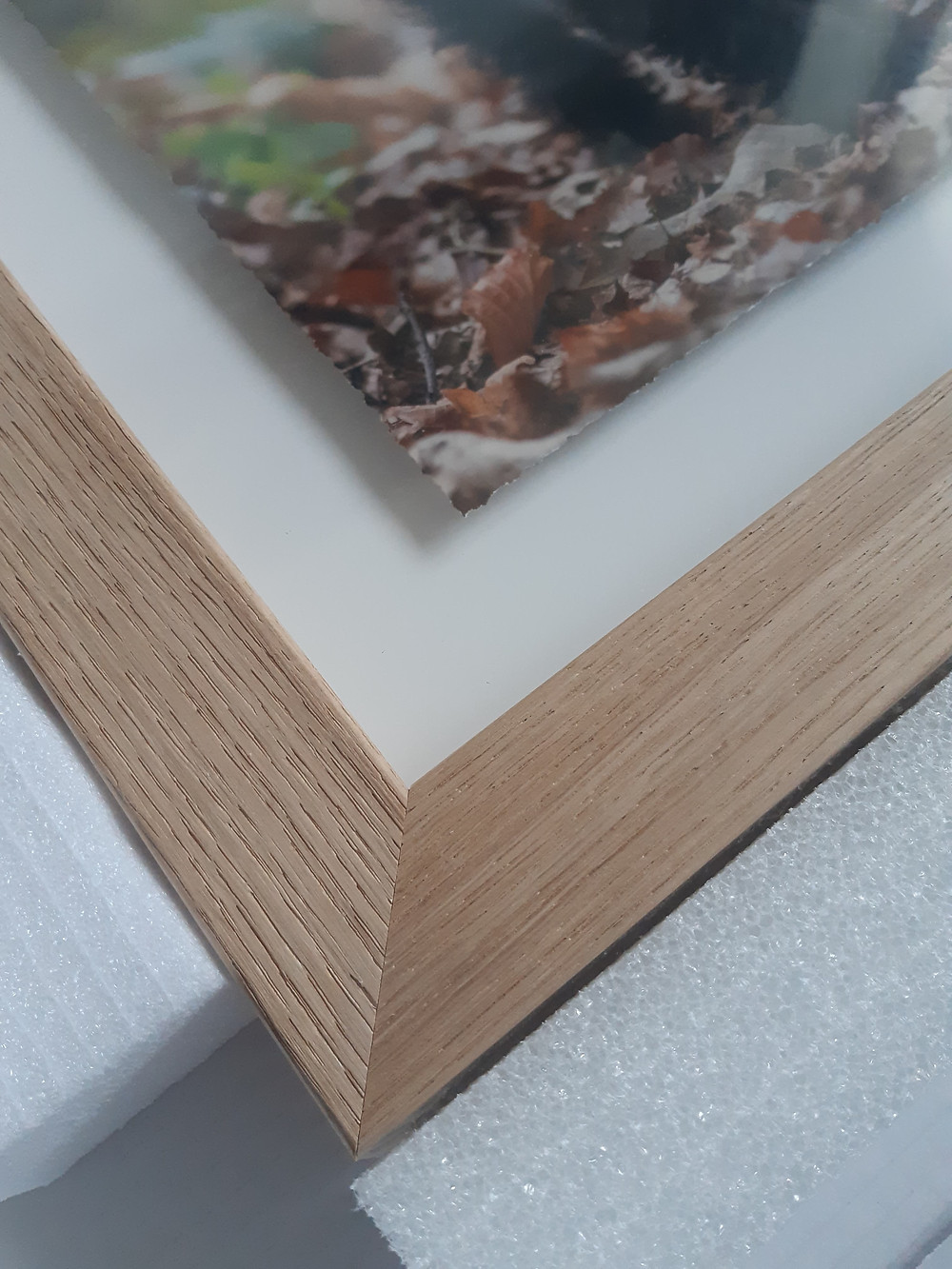 Close up of detail on the Fine Art Float Frame in Oak
