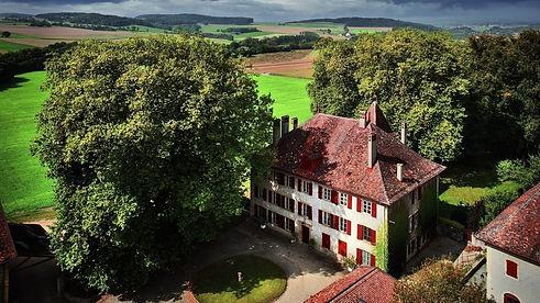 Le Château d'Eclépens qui permet d'accueillir des événements comme des mariages pour fêter des moments inoubliables. Avec ses volets et son toit rouge, entouré d'arbres et de champs verts et terreux. Il y a un grand jardin pouvant accueillir de grands événements