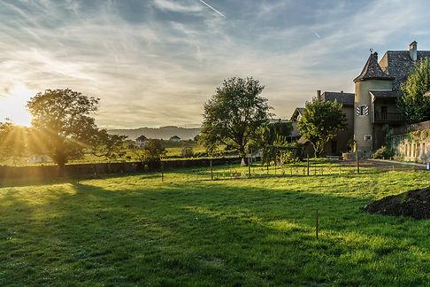Le jardin vert du Château Rochefort avec des arbres. Il y a des vignes, quelques maison puis des collines en arrière-plan. C'est un magnifique Château qui peut être loué pour un mariage ou un événement professionnel avec de somptueuses salles pouvant accueillir des convives